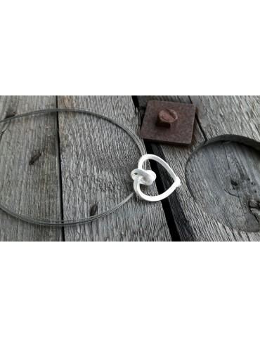 A- Zone Modeschmuck Kette Halskette Damen silber grau Draht Herz