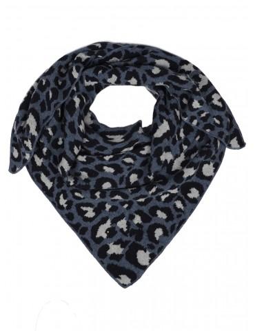 Zwillingsherz Dreieckstuch jeansblau schwarz hellgrau Leo mit Kaschmir