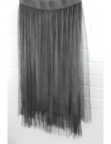Damen Tüll Rock anthrazit grau verwaschen Onesize ca. 38 - 42 Blogger Style