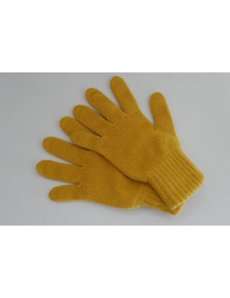 Zwillingsherz Handschuhe Fingerhandschuhe Classic curry gelb mit Kaschmir