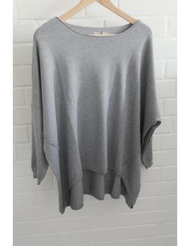 ESViViD Damen Pullover grau Rundhals Onesize ca. 38 - 46 mit Viskose 2232