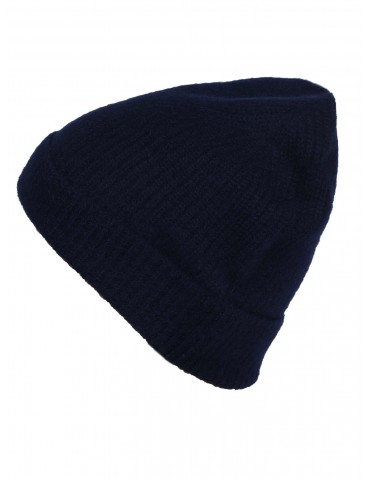 Zwillingsherz Damen Mütze Rippe Muster uni dunkelblau marine 100% Kaschmir