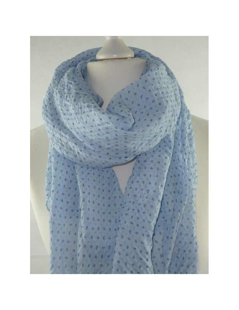 Schal Tuch Loop Made in Italy Seide Baumwolle hellblau blau Blumen