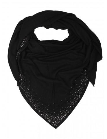 Zwillingsherz Dreieckstuch Schal mit Kaschmir schwarz Strass Steine