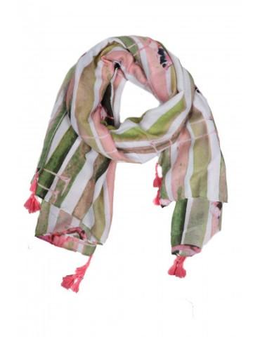 Leichter Damen Schal Tuch weiß rose grün bunt Flamingo Trotteln Tasseln
