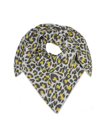 Zwillingsherz Dreieckstuch Schal hellgrau grau gelb mit Baumwolle Leo