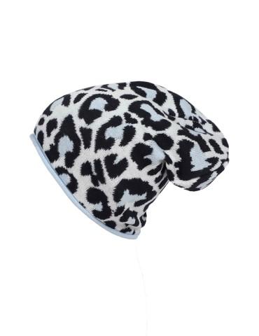 Zwillingsherz Mütze Beanie creme schwarz hellblau mit Baumwolle