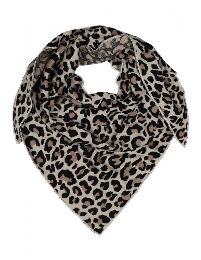 Zwillingsherz Dreieckstuch Schal natur beige schwarz mit Baumwolle Leo