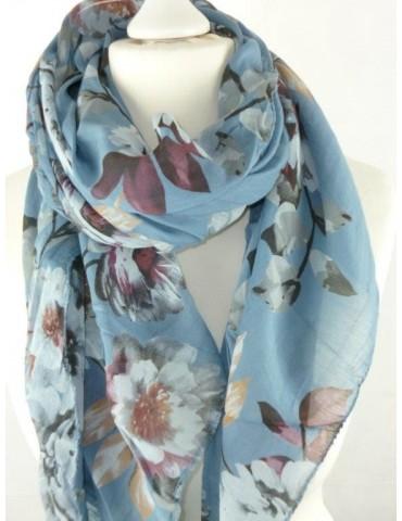 Schal Tuch Loop Made in Italy Seide Baumwolle jeansblau weinrot weiß braun bunt Blumen
