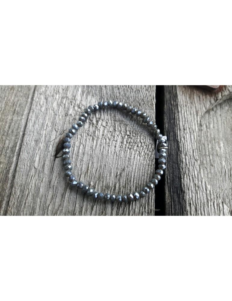 Armband Kristallarmband Perlen klein anthrazit grau Glitzer Schimmer elastisch