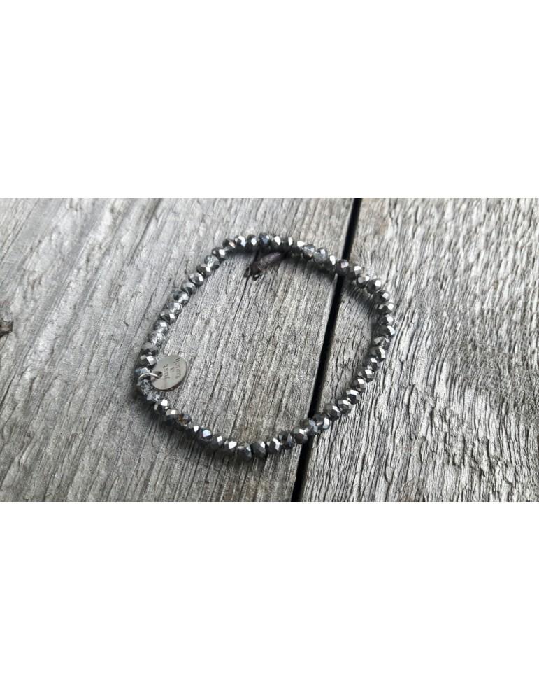 Armband Kristallarmband Perlen klein anthrazit grau braun Glitzer Schimmer elastisch