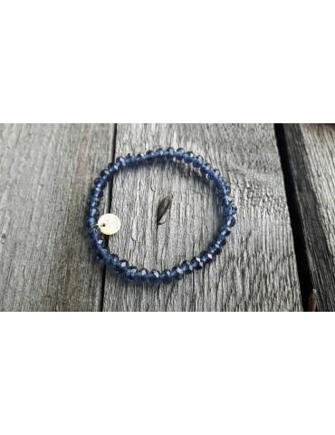 Armband Kristallarmband Perlen groß dunkelblau klar Schimmer Glanz elastisch