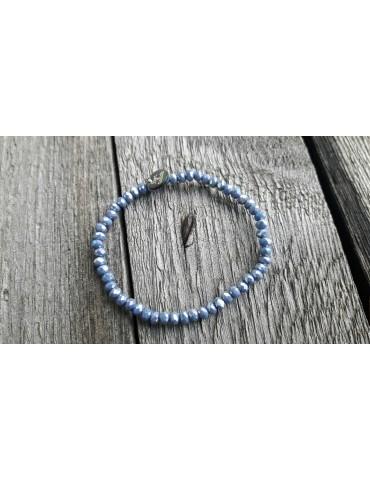 Armband Kristallarmband Perlen klein jeansblau grau Glitzer Schimmer elastisch