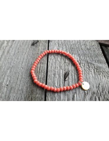 Armband Kristallarmband Perlen klein lachs matt Glitzer Schimmer elastisch