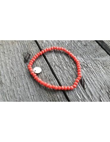 Armband Kristallarmband Perlen klein lachs Glitzer Schimmer elastisch