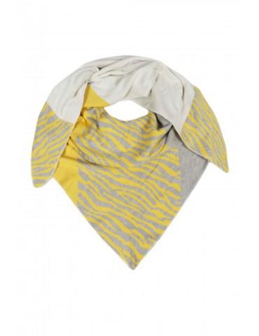 Zwillingsherz Dreieckstuch Schal hellgrau gelb beige Zebra mit Baumwolle
