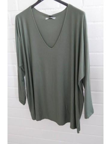 Damen Basic Shirt langarm oliv khaki uni mit Viskose Onesize ca. 38 - 46