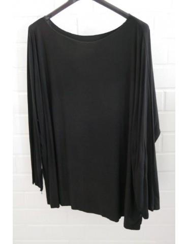 Damen Basic Shirt langarm Rundhals schwarz black uni mit Viskose Onesize ca. 38 - 46