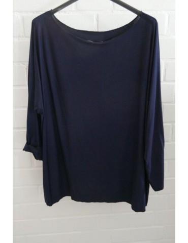 Damen Basic Shirt langarm Rundhals dunkelblau blau uni mit Viskose Onesize ca. 38 - 46