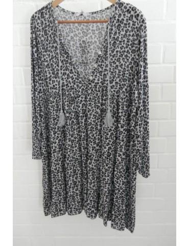 Damen Tunika Kleid A-Form hellgrau grau schwarz Leo Onesize ca. 38 - 42 Made in Italy