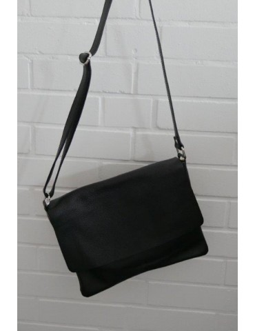 Damen Echt Leder Handtasche Schultertasche schwarz black Klassiker