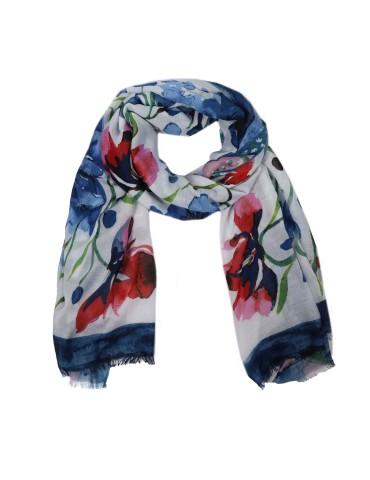 Leichter Damen Schal Tuch weiß blau pink grün bunt Blumen