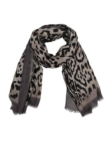 Leichter Damen Schal Tuch beige grau schwarz taupe Tiger
