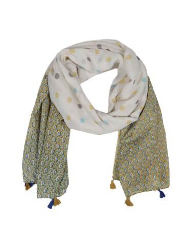 Leichter Damen Schal Tuch creme gelb lila blau bunt Punkte Paisly Trotteln