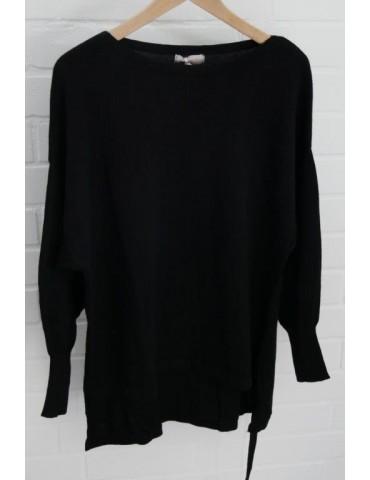 ESViViD Damen Pullover schwarz black Bändchen Onesize ca. 38 - 46 Baumwolle 13261