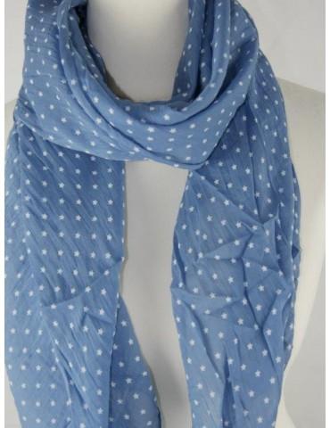 Schal Tuch Loop Made in Italy Seide Baumwolle jeansblau blau weiß Mini Sterne
