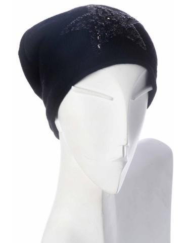 Zwillingsherz Mütze Beanie schwarz Pailletten Stern mit Kaschmir