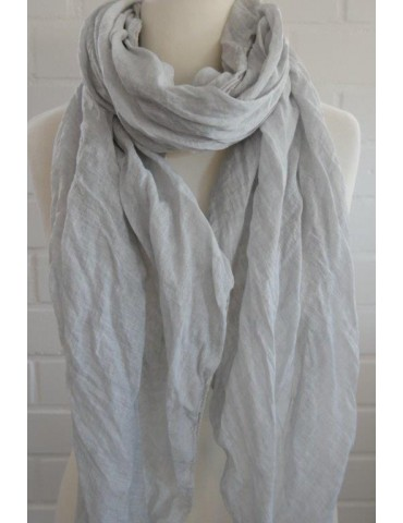 XXL Damen Schal Tuch hellgrau grau verwaschen 100% Baumwolle Asymmetrisch
