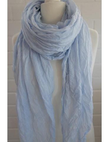 XXL Damen Schal Tuch hellblau blau verwaschen 100% Baumwolle Asymmetrisch