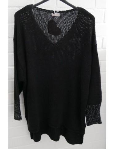 ESViViD Damen Pullover schwarz black Lurex Onesize ca. 38 - 44 mit Baumwolle 13268