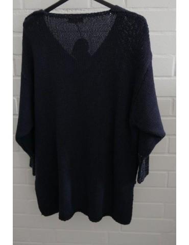ESViViD Damen Pullover dunkelblau blau Lurex Onesize ca. 38 - 44 mit Baumwolle 13268