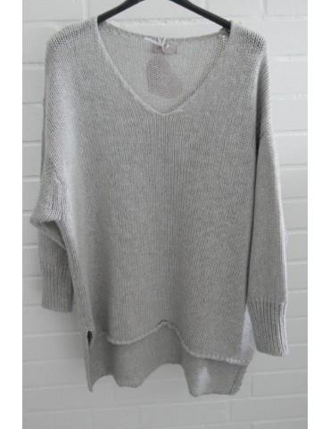 ESViViD Damen Pullover hellgrau grau Lurex Onesize ca. 38 - 44 mit Baumwolle 13268