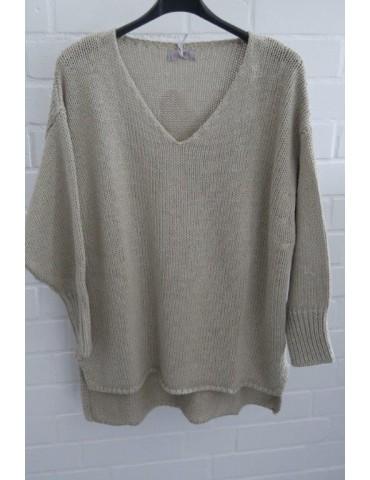 ESViViD Damen Pullover taupe beige Lurex Onesize ca. 38 - 44 mit Baumwolle 13268