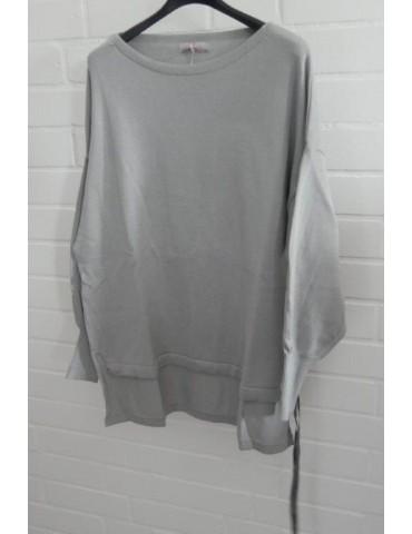 ESViViD Damen Pullover hellgrau grey Bändchen Onesize ca. 38 - 46 Baumwolle 13261