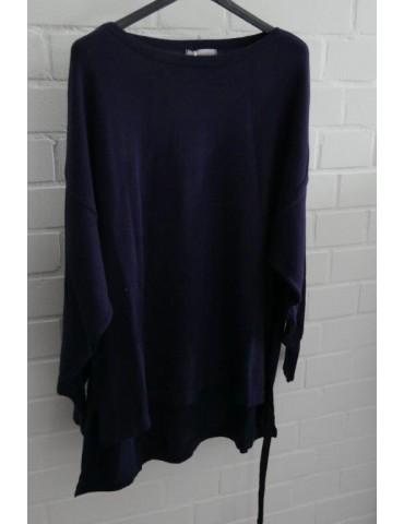 ESViViD Damen Pullover dunkelblau blau Bändchen Onesize ca. 38 - 46 Baumwolle 13261
