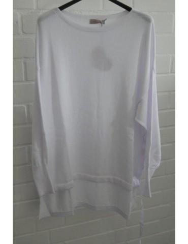 ESViViD Damen Pullover weiß white Bändchen Onesize ca. 38 - 46 Baumwolle 13261