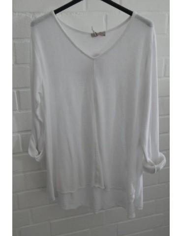 ESViViD Damen Shirt A-Form langarm V-Ausschnitt weiß white Baumwolle Onesize ca. 38 - 44