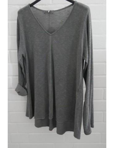 ESViViD Damen Shirt A-Form langarm V-Ausschnitt grau grey Baumwolle Onesize ca. 38 - 44