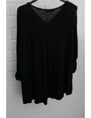 ESViViD Damen Shirt A-Form langarm V-Ausschnitt schwarz black Baumwolle Onesize ca. 38 - 44