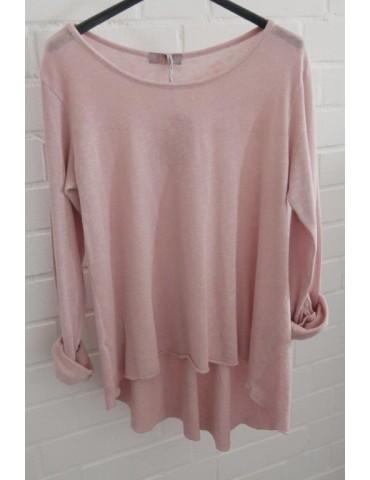 ESViViD Damen Shirt A-Form langarm rose rosa Baumwolle Onesize ca. 38 - 44