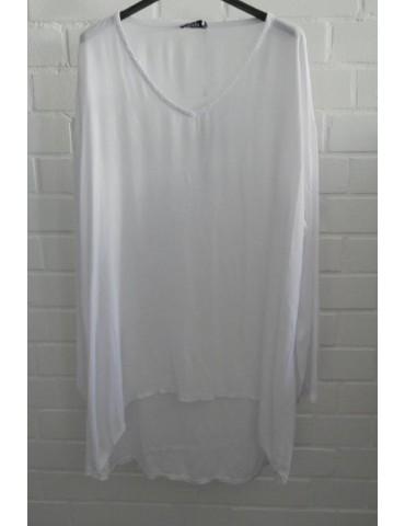 Xuna Damen Tunika Bluse Shirt Kreppstoff weiß white Viskose Onesize ca. 38 - 44