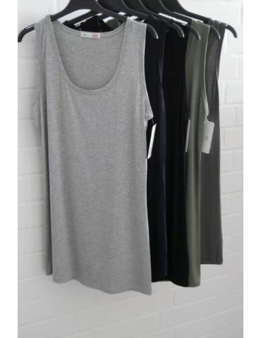 Damen Basic Top Shirt schwarz black mit Viskose...