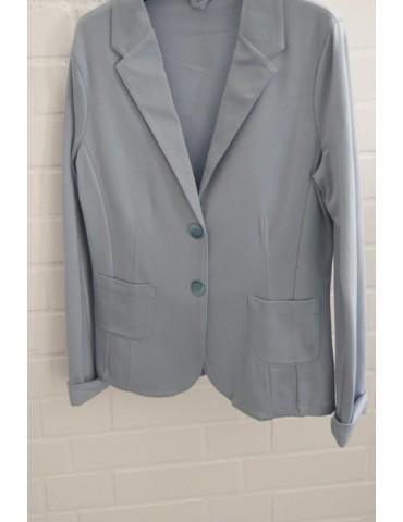 svivid Bequemer Sportlicher Jersey Blazer tailliert eisblau blau uni