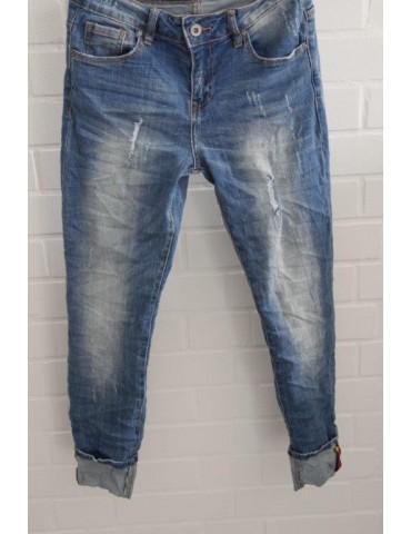 Trendige Coole Bequeme Jeans Hose Damenhose blau verwaschen Umschlag