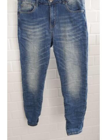 Coole trendige Jeans Hose Damenhose Boyfriend blau verwaschen