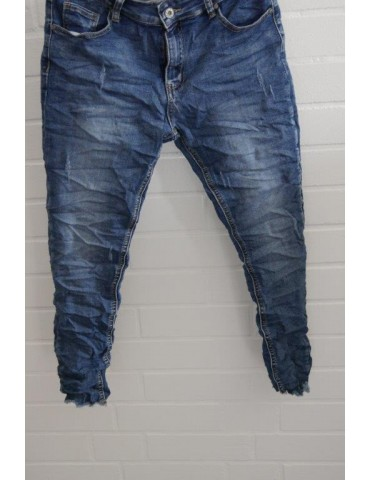 ORMI Jeans Hose Damenhose blau verwaschen Beinabschluß gefranst